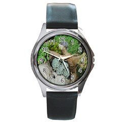 Plant Succulent Plants Flower Wood Round Metal Watch by Nexatart