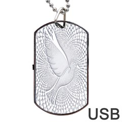 Points Circle Dove Harmony Pattern Dog Tag Usb Flash (two Sides)