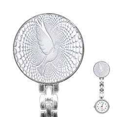 Points Circle Dove Harmony Pattern Stainless Steel Nurses Watch