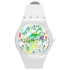 Points Circle Music Pattern Round Plastic Sport Watch (m)