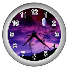 Purple Sky Wall Clocks (silver)  by Nexatart