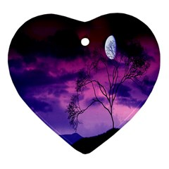 Purple Sky Heart Ornament (two Sides) by Nexatart