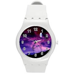 Purple Sky Round Plastic Sport Watch (m)