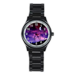 Purple Sky Stainless Steel Round Watch