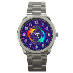 Recycling Arrows Circuit Sport Metal Watch by Nexatart
