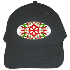 Red And Green Snowflake Black Cap