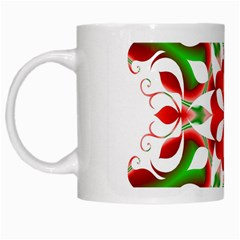 Red And Green Snowflake White Mugs