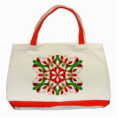 Red And Green Snowflake Classic Tote Bag (red) by Nexatart