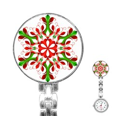 Red And Green Snowflake Stainless Steel Nurses Watch by Nexatart