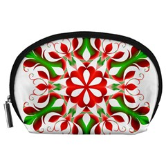Red And Green Snowflake Accessory Pouches (large)