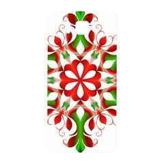 Red And Green Snowflake Samsung Galaxy Alpha Hardshell Back Case by Nexatart