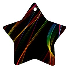Rainbow Ribbons Ornament (star) by Nexatart