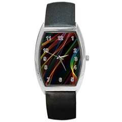 Rainbow Ribbons Barrel Style Metal Watch by Nexatart