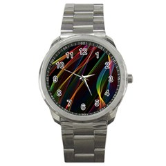 Rainbow Ribbons Sport Metal Watch by Nexatart