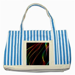 Rainbow Ribbons Striped Blue Tote Bag by Nexatart
