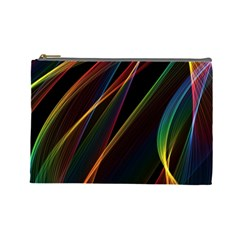 Rainbow Ribbons Cosmetic Bag (large)  by Nexatart