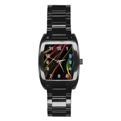 Rainbow Ribbons Stainless Steel Barrel Watch by Nexatart