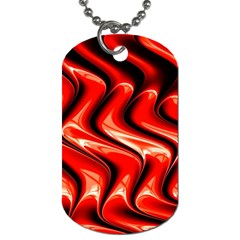 Red Fractal  Mathematics Abstact Dog Tag (one Side) by Nexatart