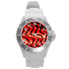 Red Fractal  Mathematics Abstact Round Plastic Sport Watch (l)