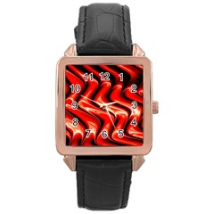 Red Fractal  Mathematics Abstact Rose Gold Leather Watch
