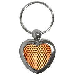 Red And Gold Effect Backing Paper Key Chains (heart)  by Nexatart