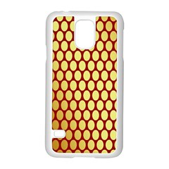 Red And Gold Effect Backing Paper Samsung Galaxy S5 Case (white) by Nexatart