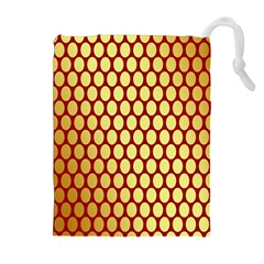 Red And Gold Effect Backing Paper Drawstring Pouches (extra Large) by Nexatart