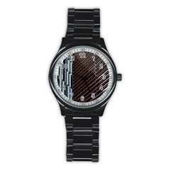 Red And Black High Rise Building Stainless Steel Round Watch by Nexatart