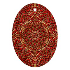 Red Tile Background Image Pattern Oval Ornament (two Sides)