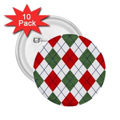 Red Green White Argyle Navy 2 25  Buttons (10 Pack)