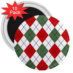 Red Green White Argyle Navy 3  Magnets (10 Pack)  by Nexatart
