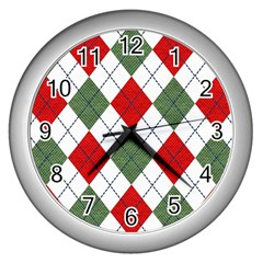 Red Green White Argyle Navy Wall Clocks (silver)