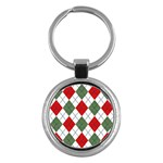 Red Green White Argyle Navy Key Chains (Round)  Front