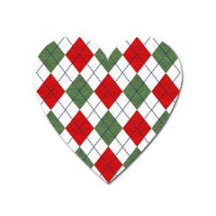 Red Green White Argyle Navy Heart Magnet by Nexatart