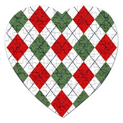 Red Green White Argyle Navy Jigsaw Puzzle (heart)