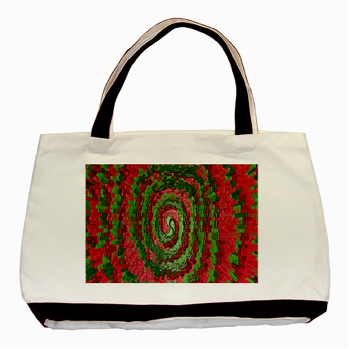 Red Green Swirl Twirl Colorful Basic Tote Bag