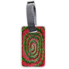 Red Green Swirl Twirl Colorful Luggage Tags (one Side)  by Nexatart
