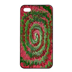 Red Green Swirl Twirl Colorful Apple Iphone 4/4s Seamless Case (black) by Nexatart