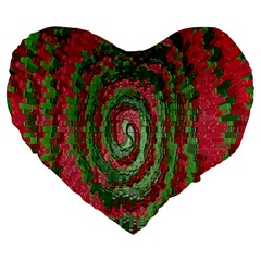 Red Green Swirl Twirl Colorful Large 19  Premium Flano Heart Shape Cushions by Nexatart