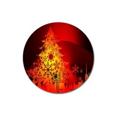 Red Silhouette Star Magnet 3  (round) by Nexatart