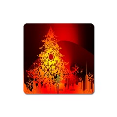 Red Silhouette Star Square Magnet by Nexatart