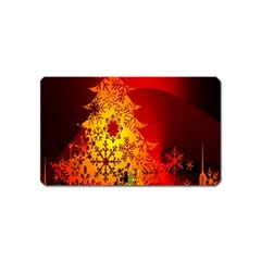 Red Silhouette Star Magnet (name Card) by Nexatart