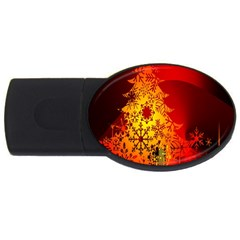 Red Silhouette Star Usb Flash Drive Oval (4 Gb)