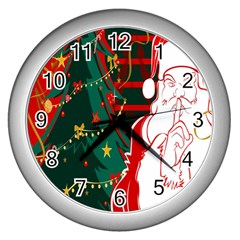 Santa Clause Xmas Wall Clocks (silver)  by Nexatart