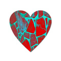 Red Marble Background Heart Magnet by Nexatart
