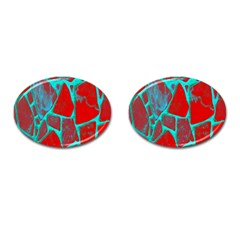 Red Marble Background Cufflinks (oval)