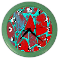 Red Marble Background Color Wall Clocks