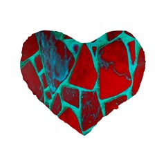 Red Marble Background Standard 16  Premium Heart Shape Cushions by Nexatart