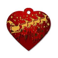 Santa Christmas Claus Winter Dog Tag Heart (one Side) by Nexatart