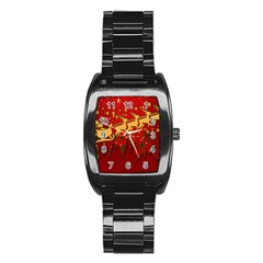 Santa Christmas Claus Winter Stainless Steel Barrel Watch